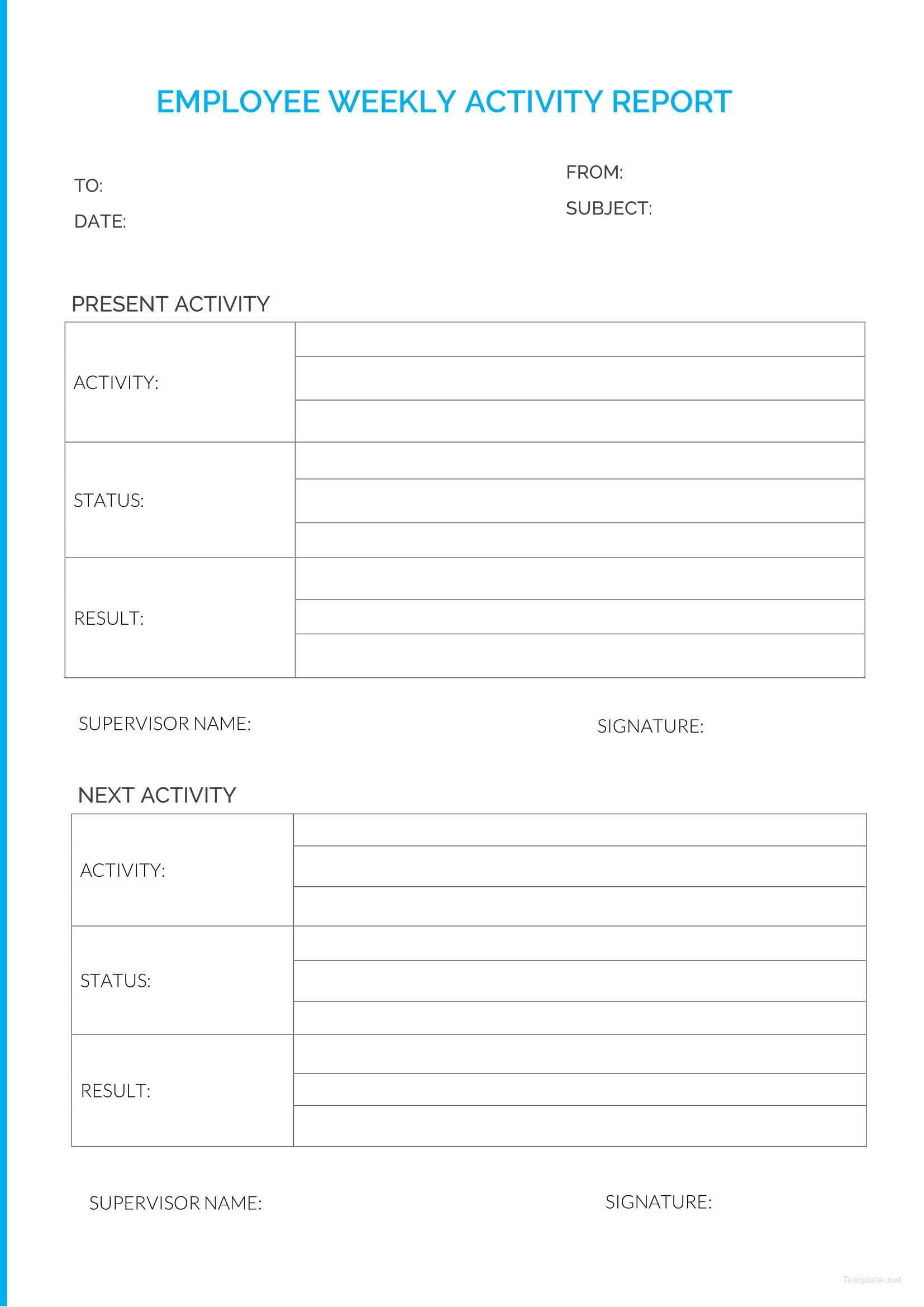 employee weekly report template in microsoft word  pdf