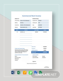 Free Commercial Rent Invoice Template