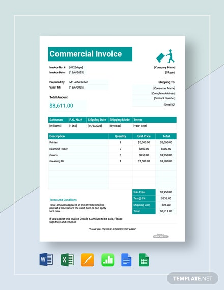 Free Printable Commercial Invoice Template