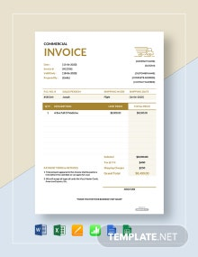 Free Simple Commercial Invoice Template