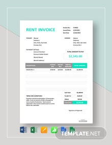 Free Simple Rent Invoice Template