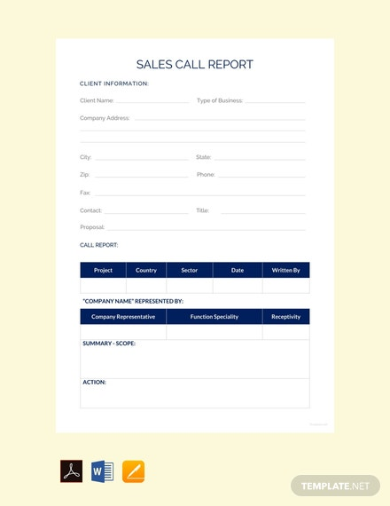 free sales call report template 440x570 1