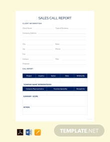 Free Sales Call Report Template