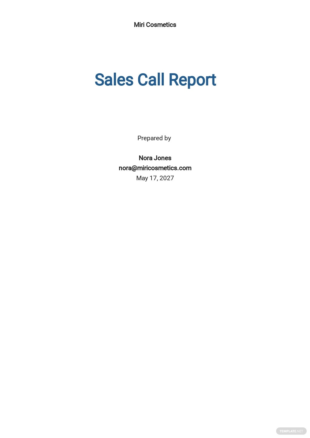 Free Sales Call Report Template.jpe