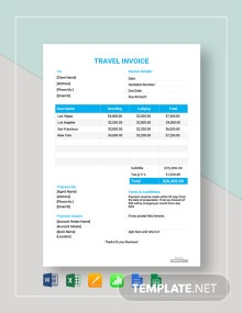 Free Travel Invoice Format Template