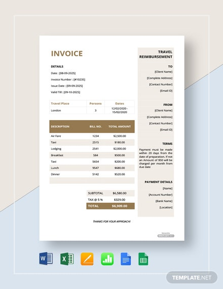 Free Travel Reimbursement Invoice Template