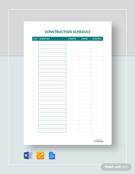 Blank Construction Schedule