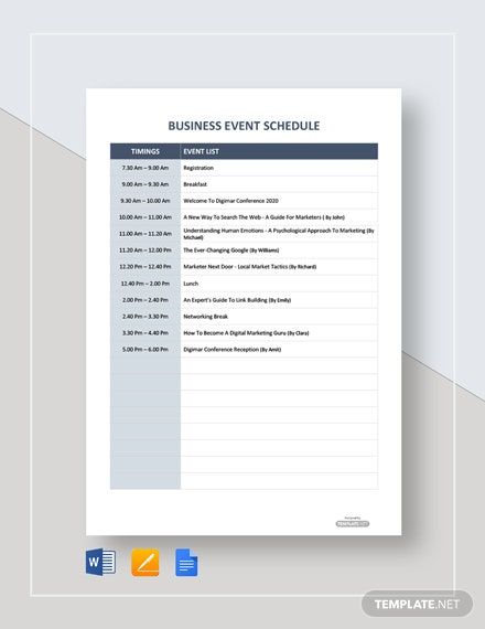 Free Business Event Schedule Template