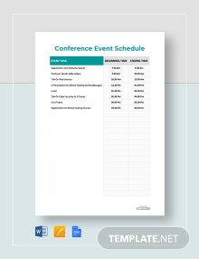 Free Conference Event Schedule Template