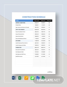 Free Sample Construction Schedule Template