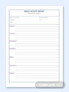 Sample Weekly Activity Report Template
