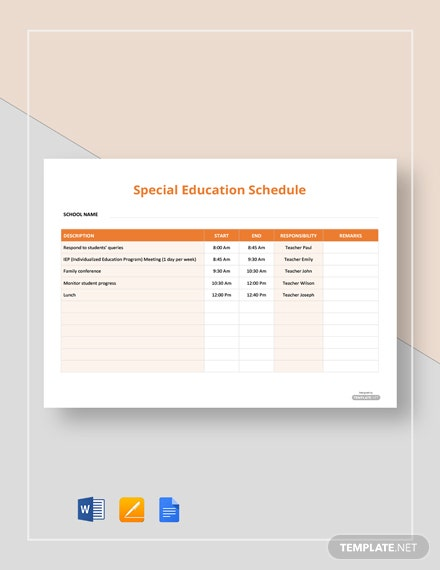Free Special Education Schedule Template