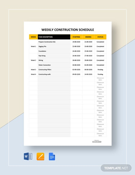 Free Weekly Construction Schedule Template