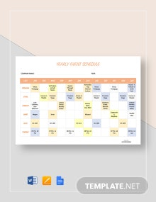Free Yearly Event Schedule Template