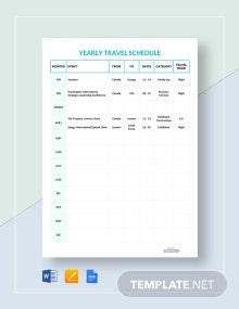 Free Yearly Travel Schedule Template