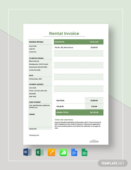 Free Simple Rental Invoice Template
