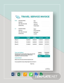 Free Sample Travel Service Invoice Template
