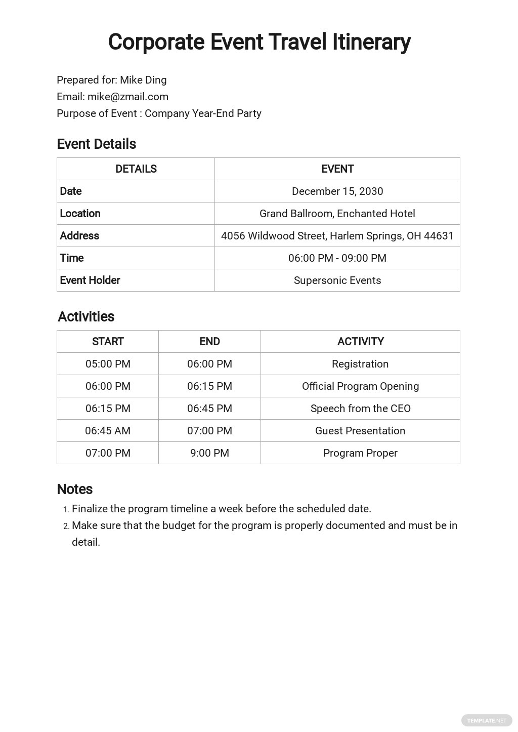 Corporate Event Travel Itinerary Template