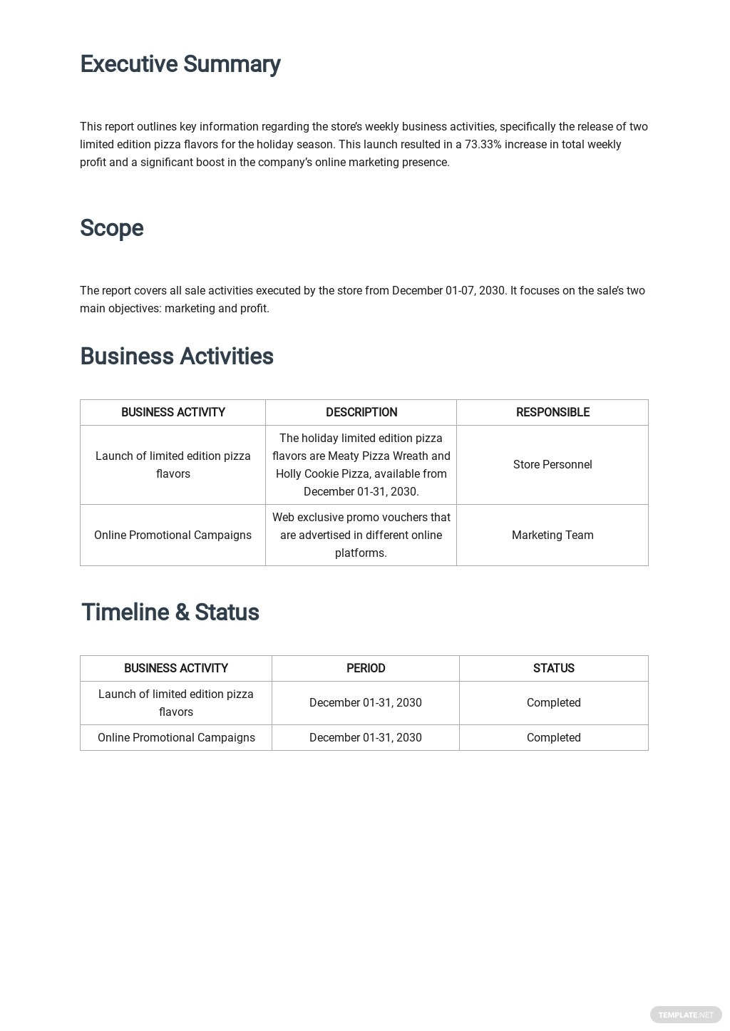 Free Weekly Business Report Template 1.jpe
