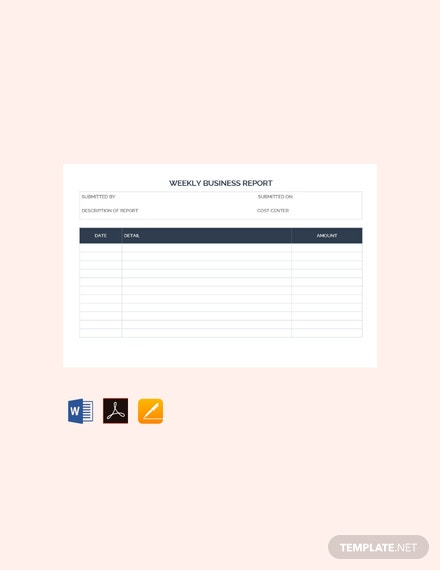 free weekly business report template 440x570 1