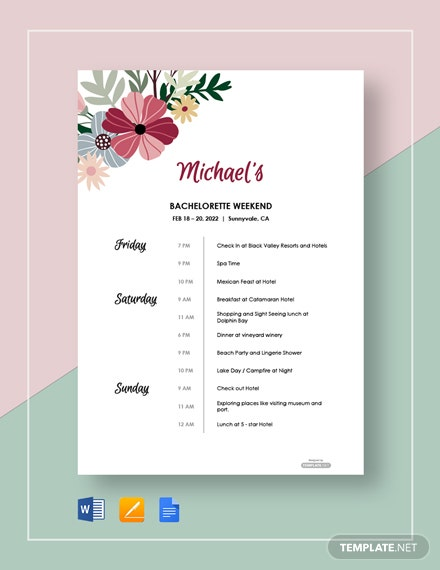 Free Printable Party Itinerary Template