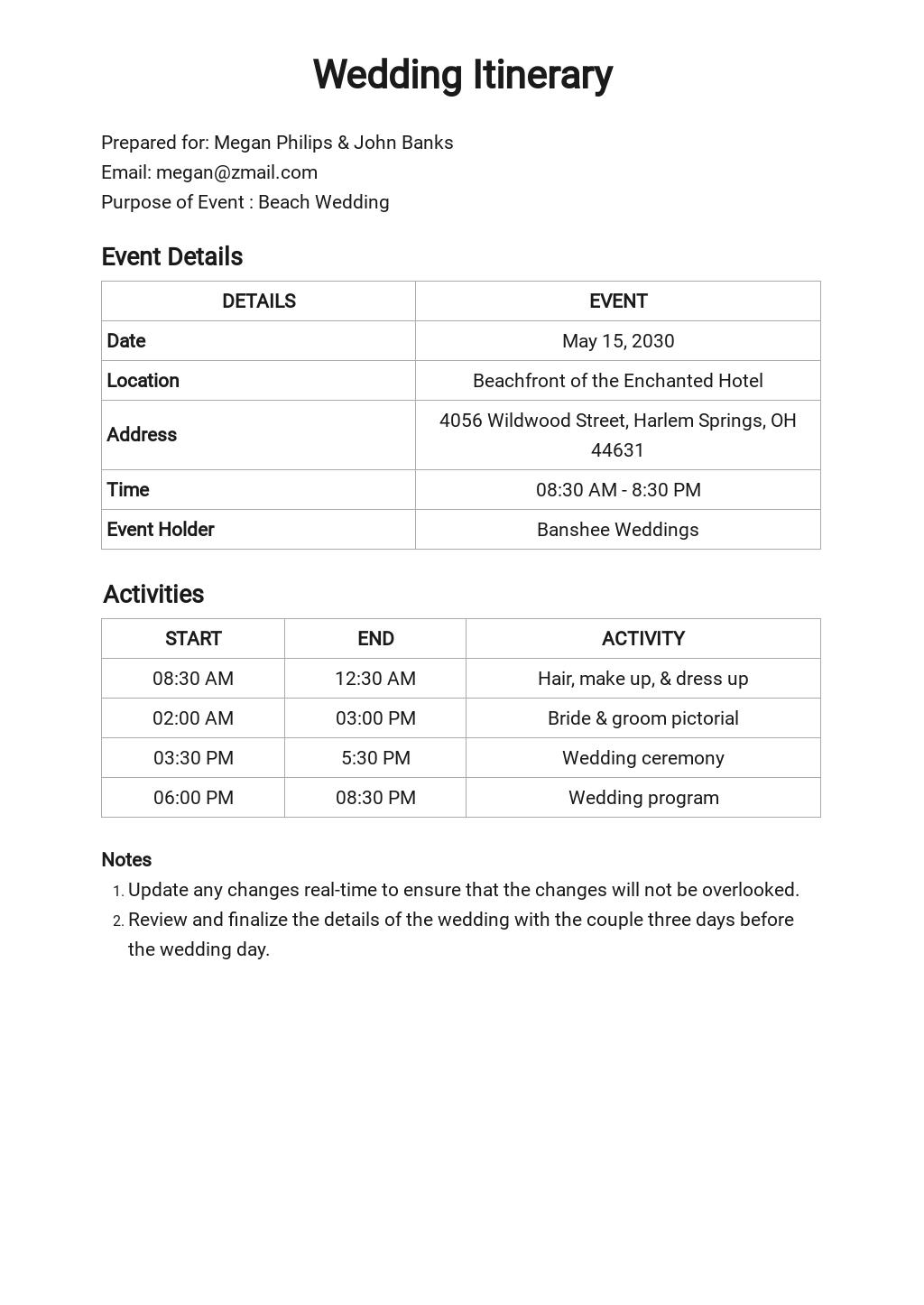 Free Sample Wedding Itinerary Template.jpe