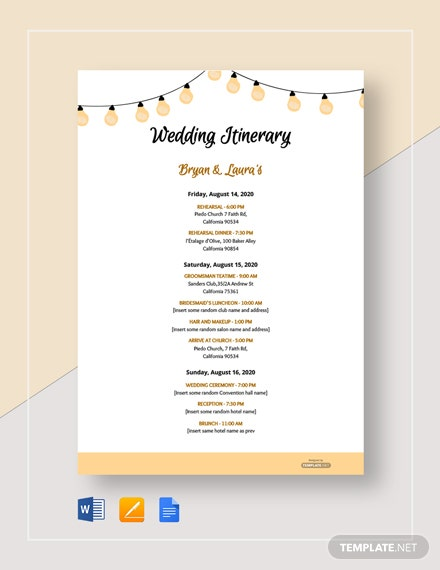 Free Sample Wedding Itinerary Template
