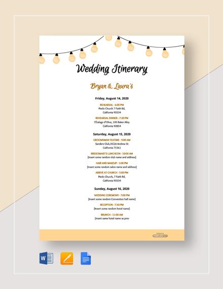 Free Sample Wedding Itinerary Template