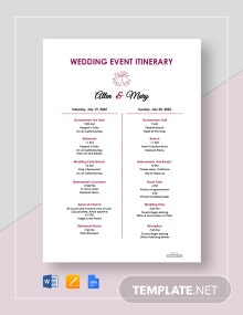 Free Wedding Event Itinerary Template