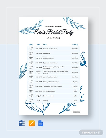 Free Bridal Party Itinerary Template