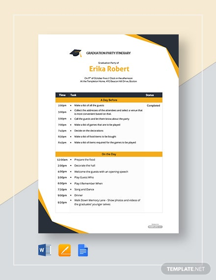 Free Graduation Party Itinerary Template