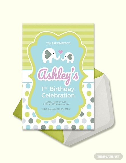 Free Baby Firsts Birthday Invitation Template