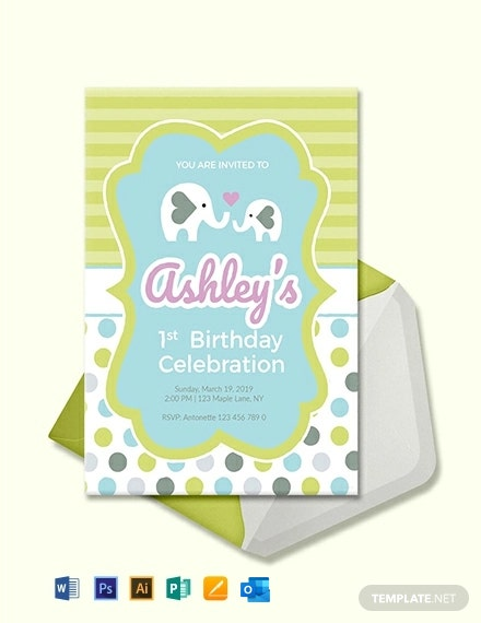 Free Baby First Birthday Invitation Template