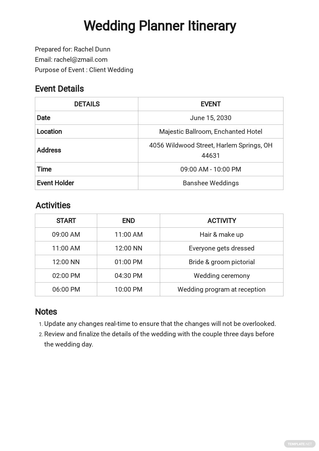 Wedding Planner Itinerary Template