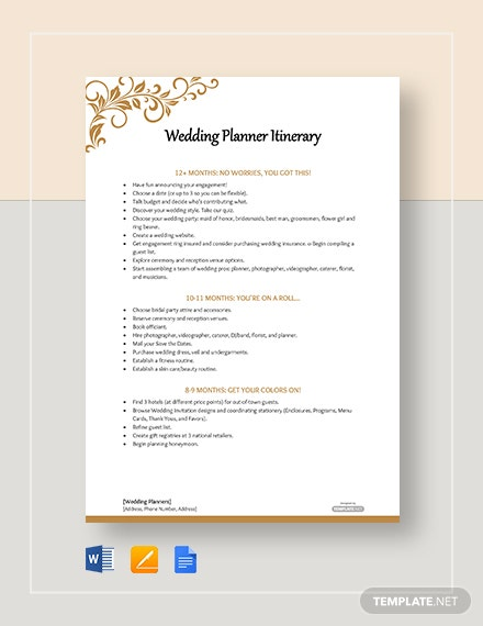 Free Wedding Planner Itinerary Template