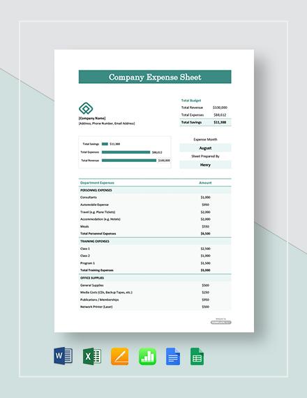 Free Company Expense Sheet Template