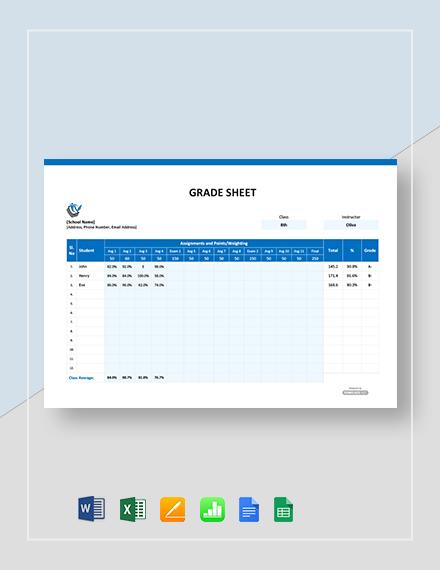 Free Grade Sheet Template