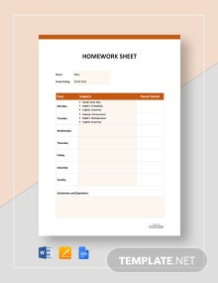 Free Homework Sheet Template