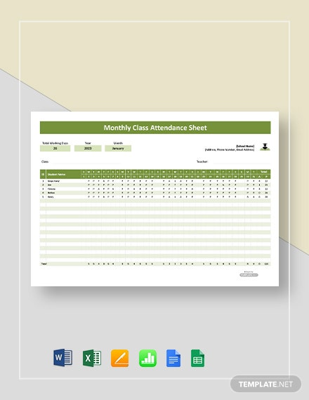 Free Monthly Class Attendance Sheet Template