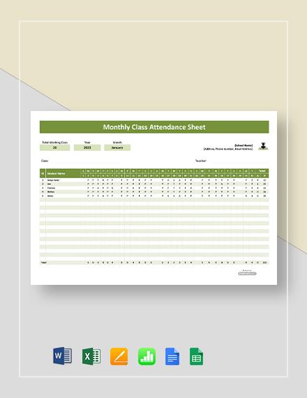 Free Monthly Class Attendance Sheet Template