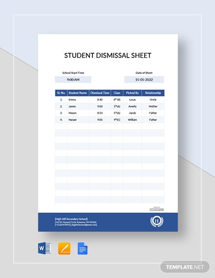 Free Student Dismissal Sheet Template