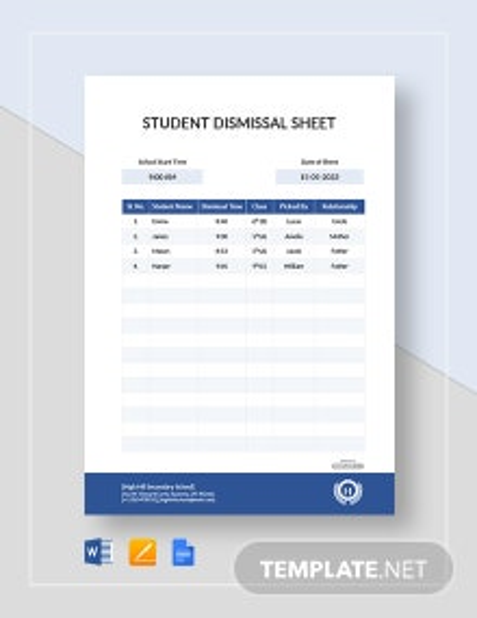 Student Dismissal Sheet Template