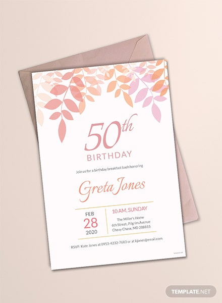 50th Birthday Breakfast Invitation Template