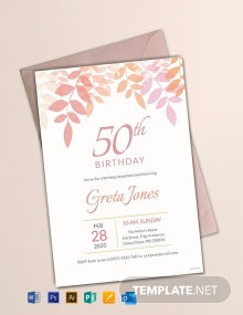 Free 50th Birthday Breakfast Invitation Template