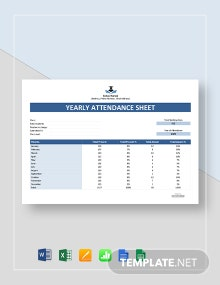 Free Yearly Attendance Template