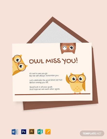 Cute Farewell Card Template