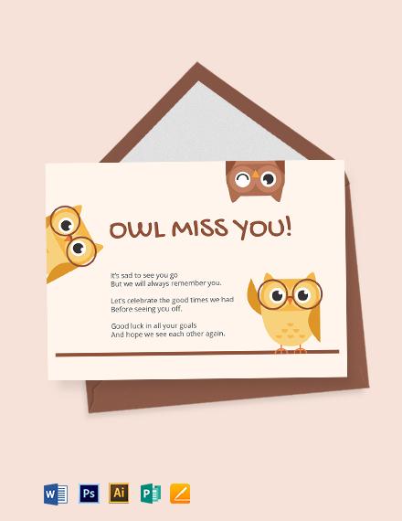 Cute Farewell Card Template