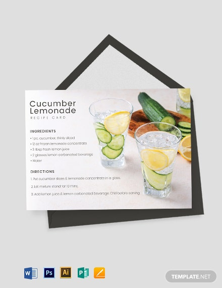 Drink Recipe Card Template