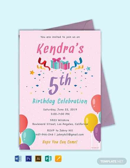 free 5th birthday invitation template