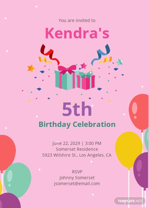 5th Birthday Invitation Template